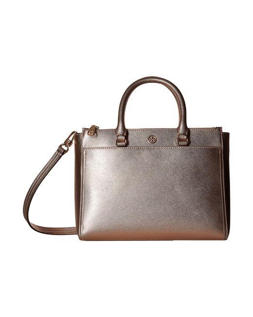 Tory Burch - Multicolor Robinson Metallic Small Double Zip Tote (light Rose Gold) Tote Handbags - Lyst