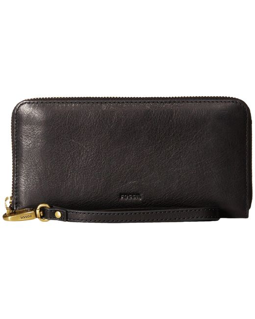 Fossil - Black Emma Large Zip Clutch Rfid - Lyst