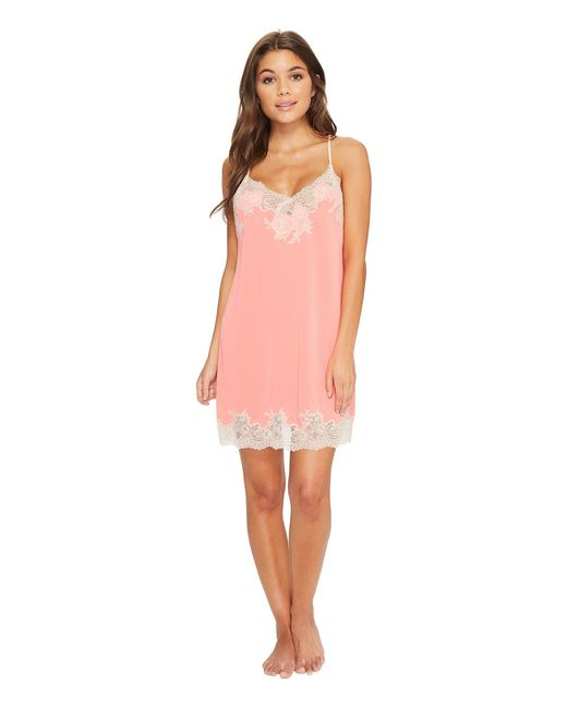 Natori - Pink Enchant Lace Trim Chemise (night Blue/rose) Women's Pajama - Lyst