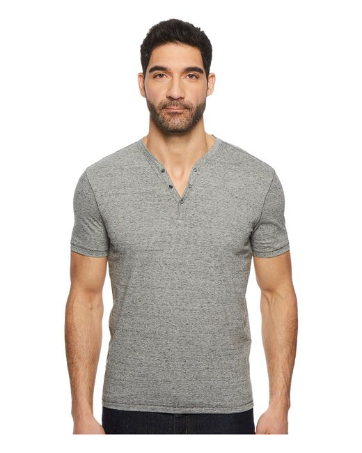 John Varvatos - Gray Short Sleeve Henley With Pick Stitch Detail K3593u1b for Men - Lyst