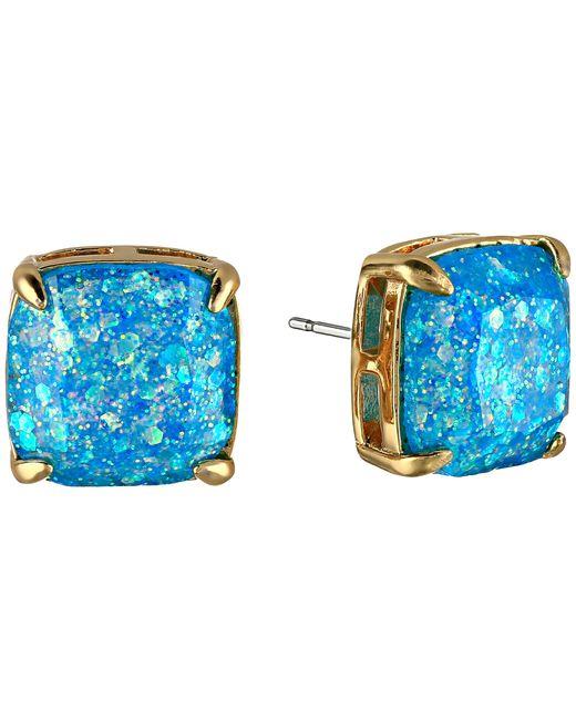 Kate Spade | Metallic Gold-tone Blue Glitter Stone Stud Earrings | Lyst
