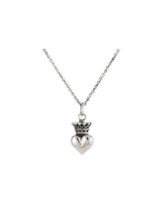 "King Baby Studio | Metallic Micro Crowned Heart Pendant On 18"" Micro Rolo Chain | Lyst"