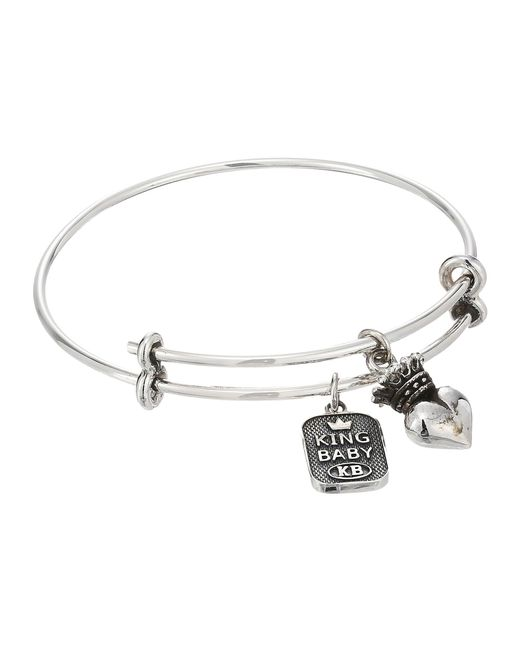 King Baby Studio | Metallic Adjustable Bangle Bracelet With Crowned Heart Charm | Lyst