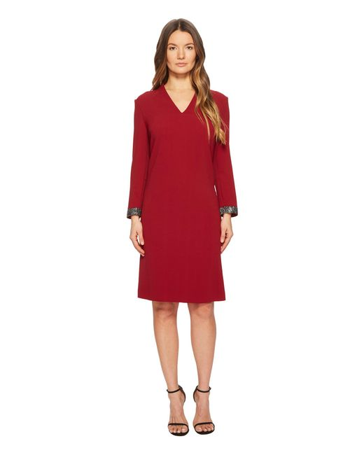 ESCADA - Red Duava Long Sleeve V-neck Dress - Lyst
