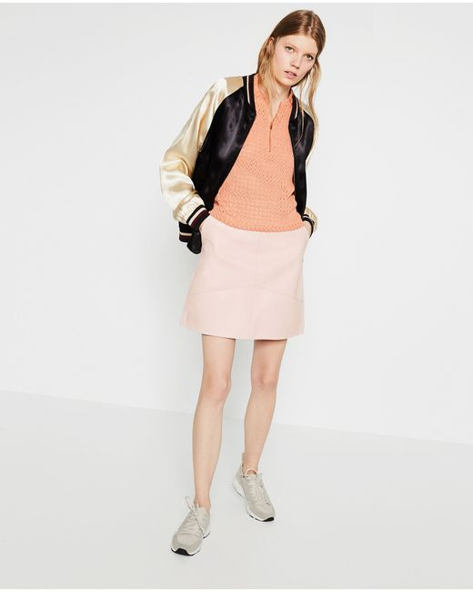 zara a line skirt in pink light pink save 60 lyst