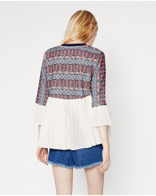 Zara embroidered flowing jacket in multicolor ecru lyst