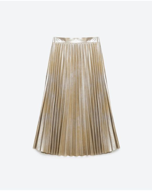 zara finely pleated metallic midi skirt in gold silver