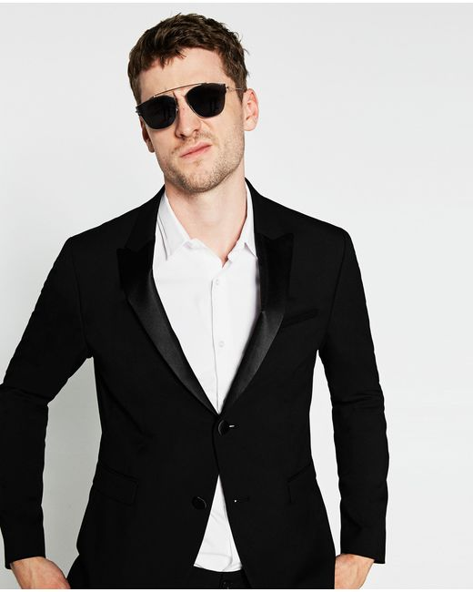 Zara Black Tuxedo Collar Blazer Black Tuxedo Collar Blazer ...