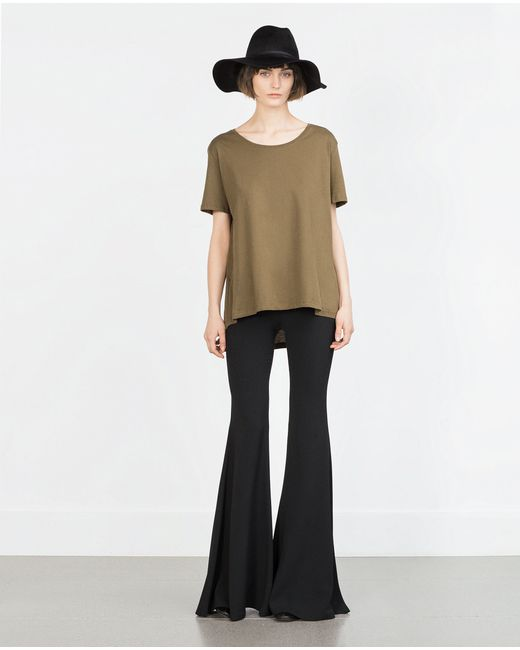 Zara | Green T-shirt With Asymmetric Hem | Lyst