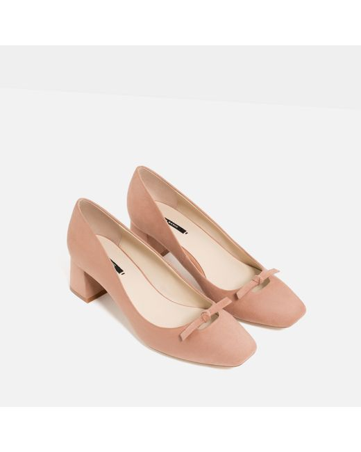 zara high heel shoes with bow detail in pink lyst
