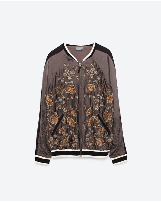 Zara special edition embroidered bomber jacket in