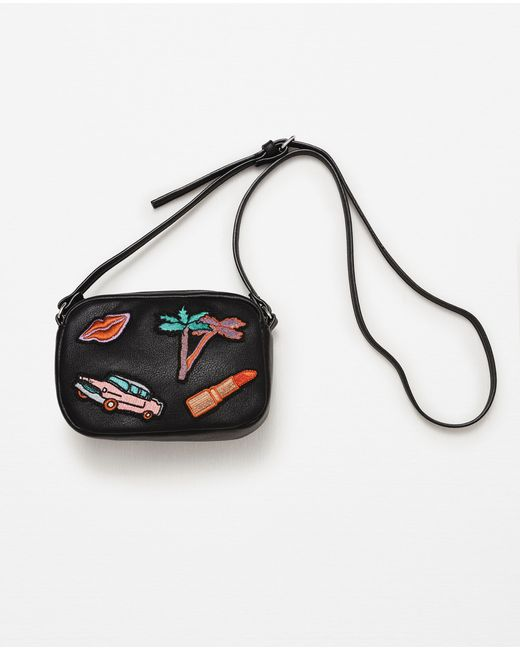 Zara Adjustable Crossbody Bag With Patches In Black Lyst