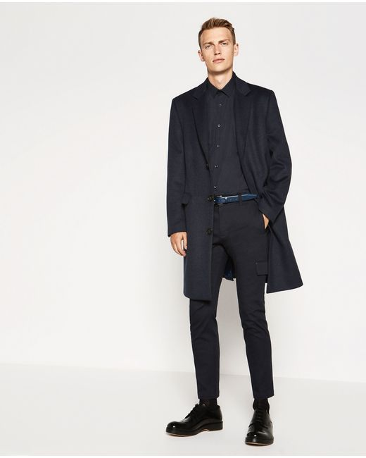 Zara | Blue Classic-cut Coat for Men | Lyst