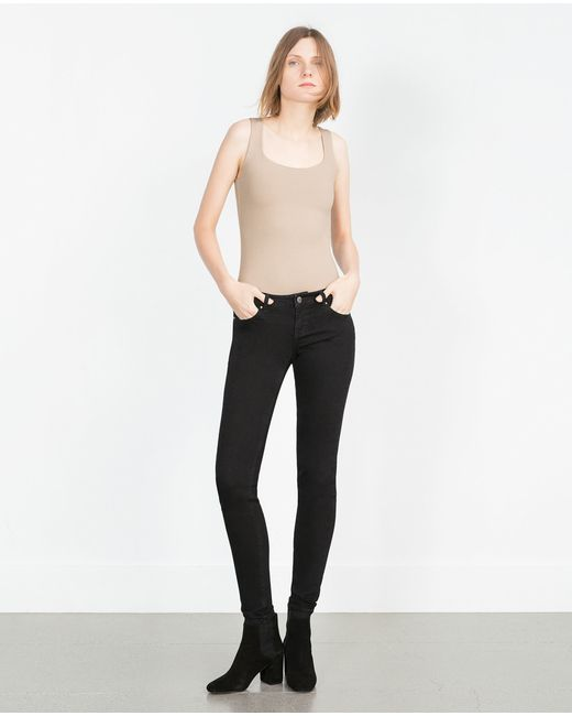 Zara | Natural Wide Strap Top | Lyst