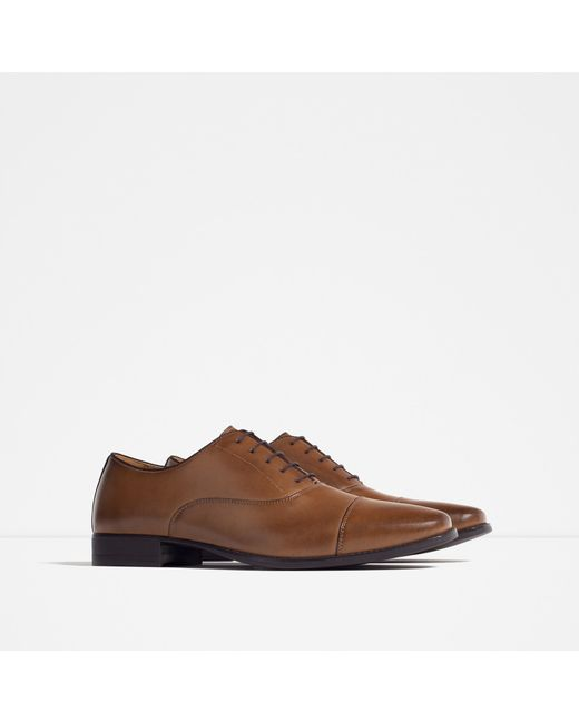 Amazing Zara Brogued Leather Oxford Shoes In Black For Men Leather  Lyst