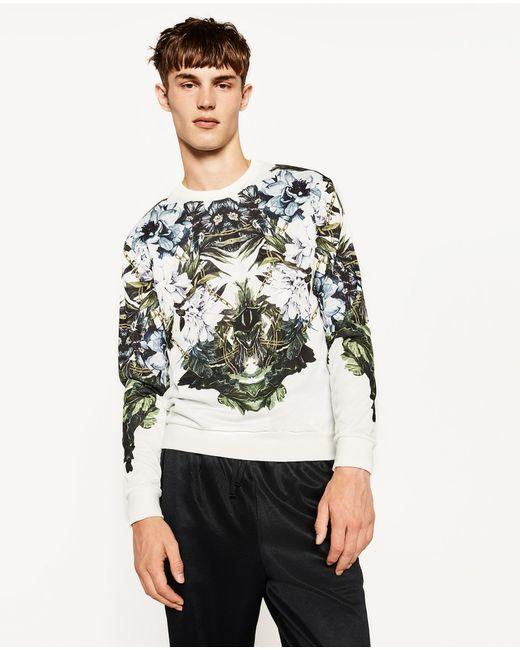 Zara floral sweatshirt in multicolour for men lyst for Zara mens floral shirt