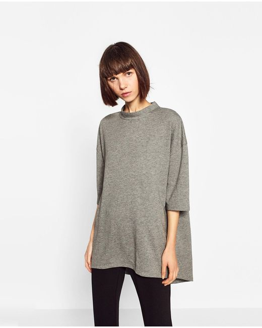 Zara | Gray Oversized High Neck Sweatshirt | Lyst