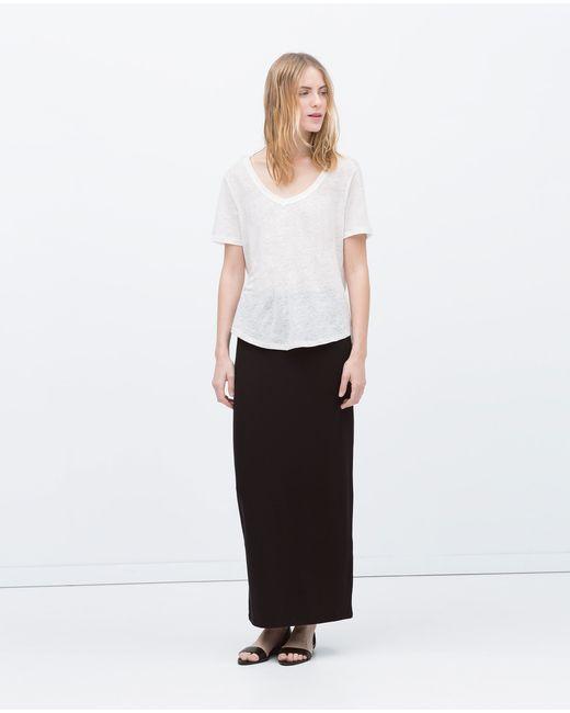 Zara | Black Long Straight Skirt | Lyst
