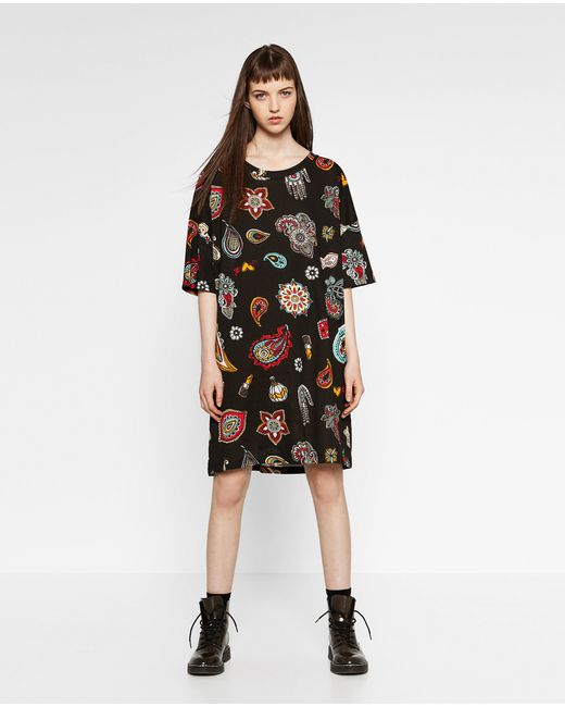 Zara printed t shirt dress in multicolour blue black lyst for Zara black t shirt dress