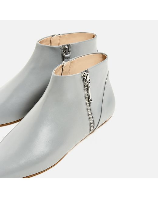 zara flat pointed leather ankle boots lyst