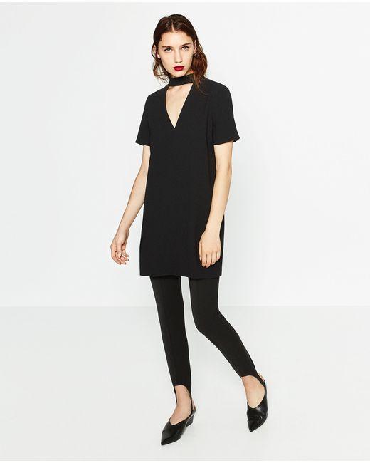 Zara | Black Mini Dress With Collar Detail | Lyst