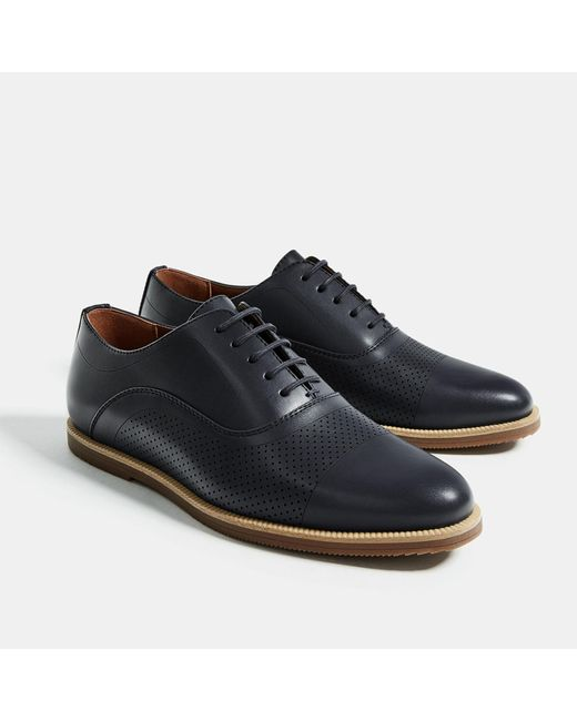 zara multi perforated casual shoes in blue for lyst