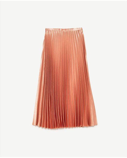 zara pleated midi skirt in pink lyst