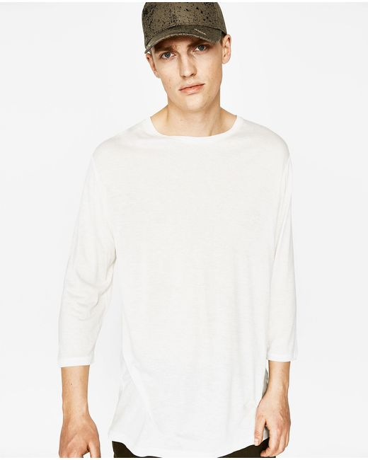 Zara T Shirt With Three Quarter Length Sleeves In White