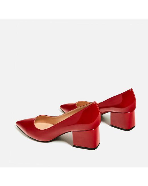 Zara Red Wide Medium Heel Shoes
