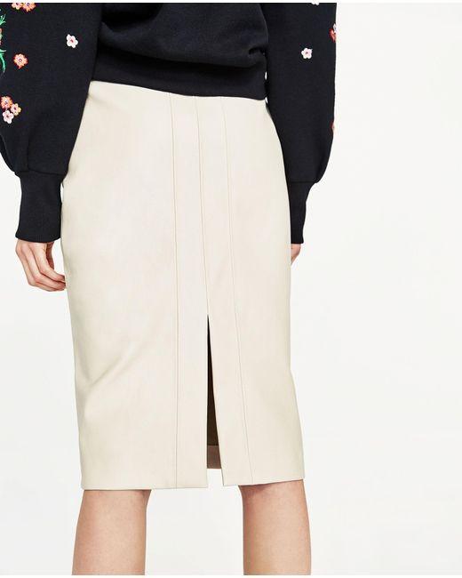 zara faux leather pencil skirt in lyst