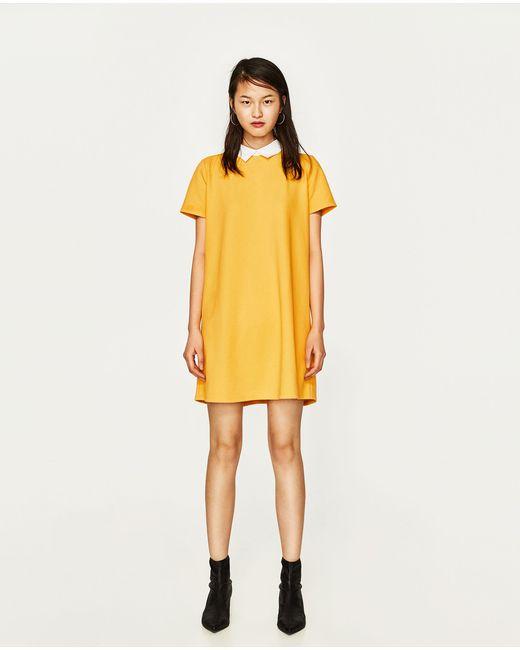Zara | Yellow Dress With Shirt Collar | Lyst