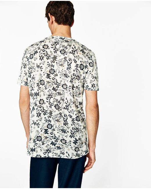 Zara floral linen t shirt in natural for men lyst for Zara mens floral shirt