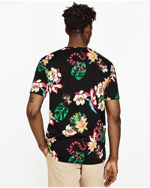 Zara floral and pineapple print t shirt in black for men for Zara mens floral shirt