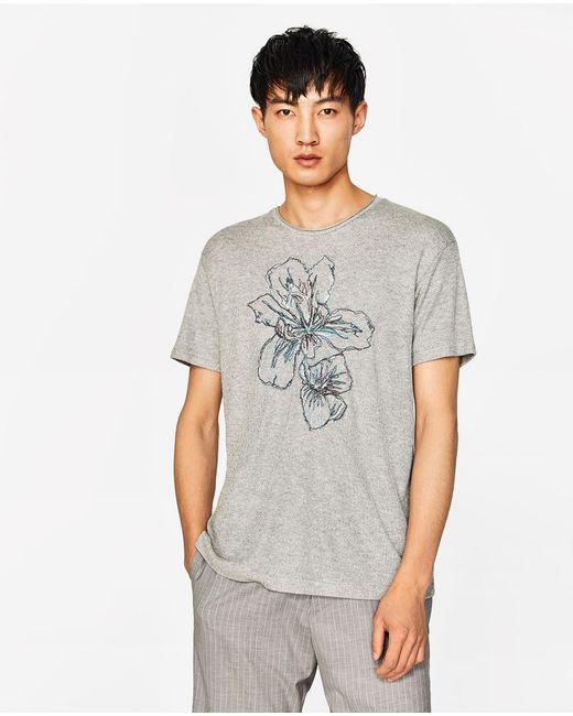 Zara embroidered flower t shirt in grey for men lyst
