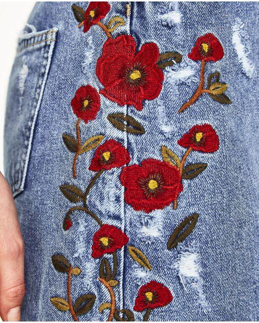 Zara floral embroidered denim skirt in blue lyst