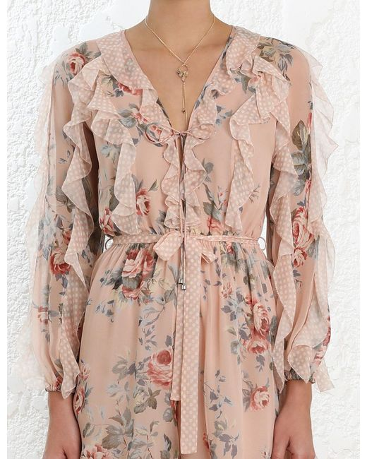 484568d06ef ... Zimmermann - Pink  bowie Frill  Belted Ruffle Floral Print Silk Rompers  ...