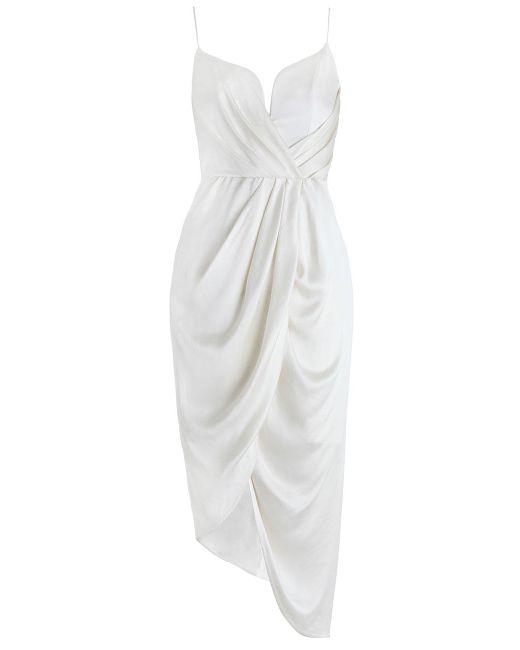 Zimmermann | White Sueded Silk Plunge Short Dress | Lyst