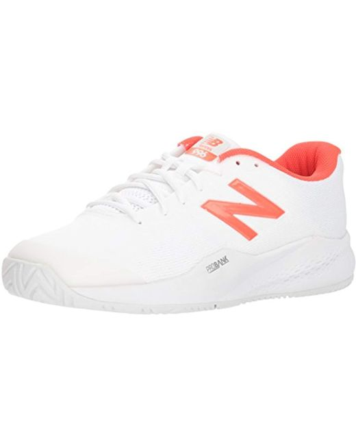 New Balance Mens White / Flame 574 Sport Trainers
