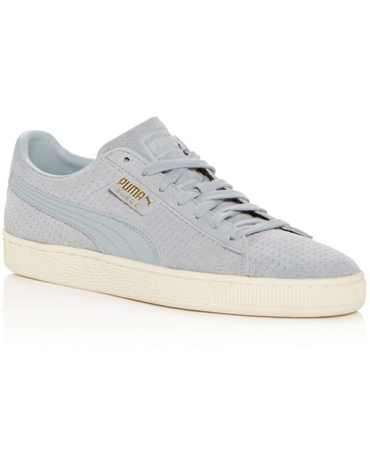 PUMA Pink Men's Classic Perforated Suede Lace Up Sneakers