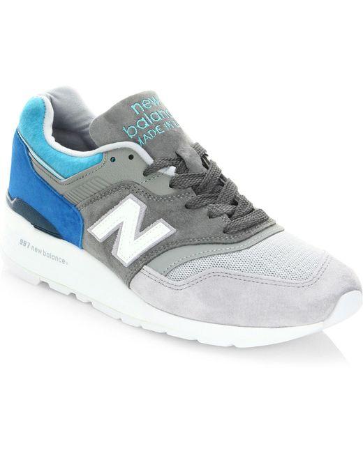 New Balance Men's Gray 990 Suede Low-top Sneakers