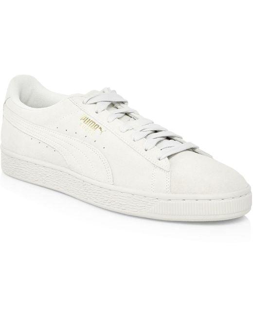 PUMA Men's White Basket Suede Low-top Sneakers