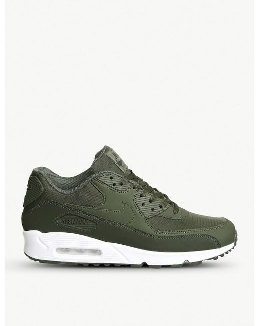 Nike Men's Blue Air Max 90 Leather And Mesh Trainers