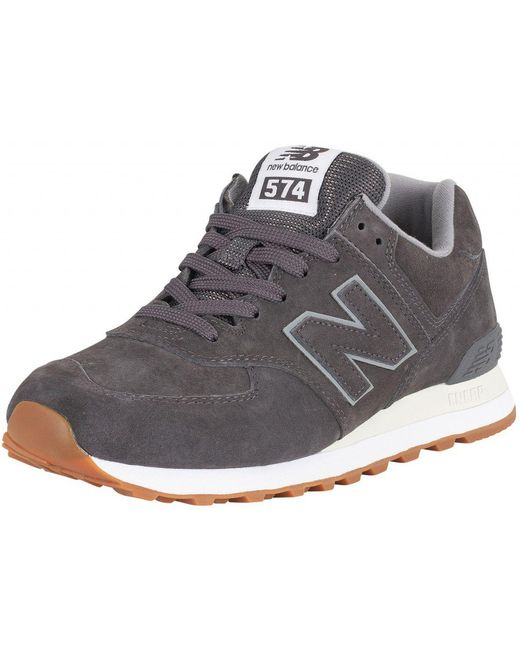 New Balance Men's Dark Green 574 Suede Trainers