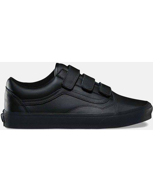 Vans Men's Black Old Skool Velcro (mono Leather)