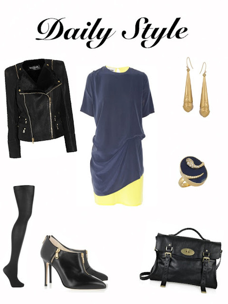 Daily Style September 19, 2012: Navy With Black Leather
