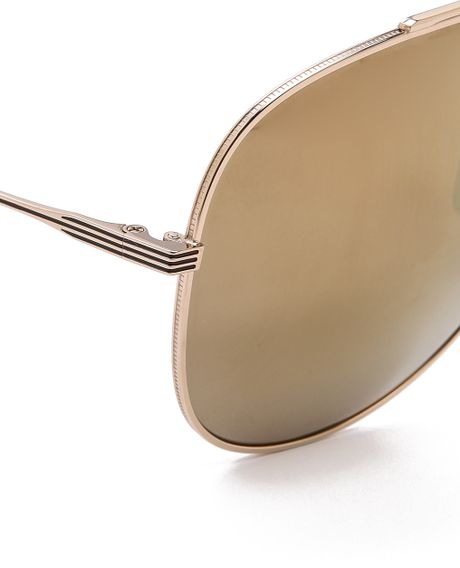 Dita condor mirrored aviator sunglasses white gold gold for White and gold mirror
