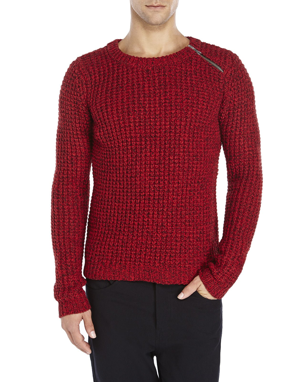 The kooples sport Red Marled Chunky Knit Wool Sweater in Red for ...