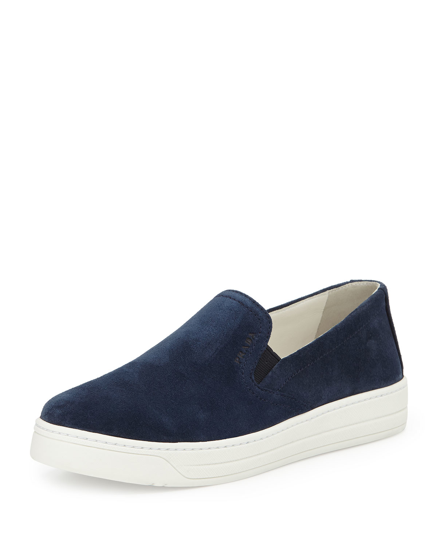 prada sport suede slip on skate shoe in blue lyst