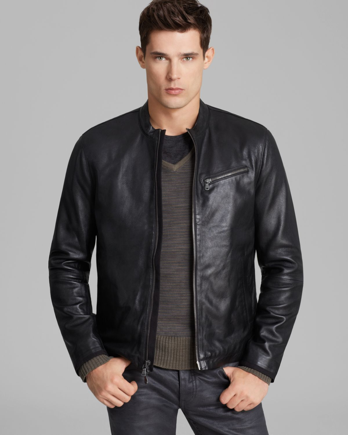 Lyst - John Varvatos Usa Denimstyle Leather Jacket in ...