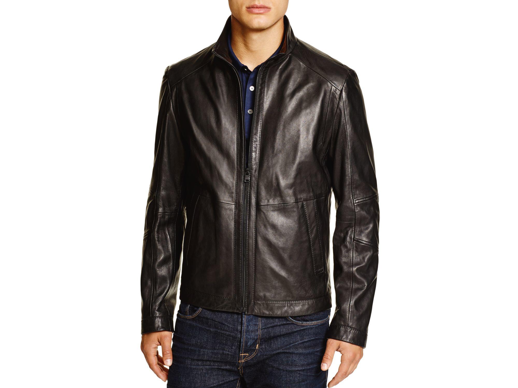 lyst boss boss noksins short leather jacket in black for men
